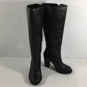 BCBGeneration Doris Black Leather Knee High Boots